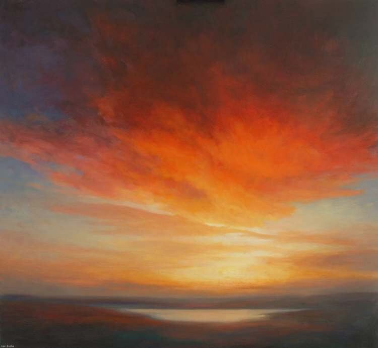 Sunset Oil Painting - Sunshine of the Light of Letters