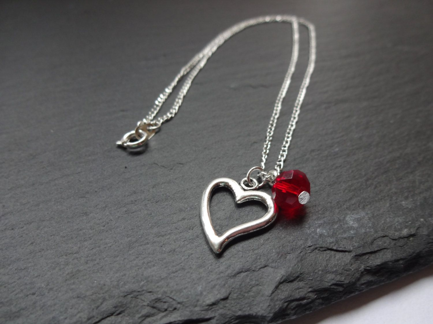 SALE Red Heart Necklace, Heart Charm, Glass Bead, Silver Plated Chain - pinned by pin4etsy.com
