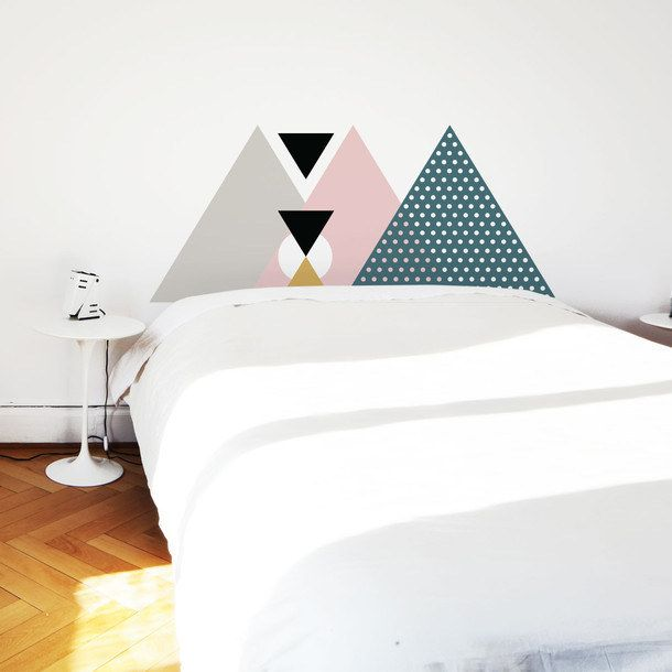 13 Totally Creative Things You Can Do With Removable Wallpaper Geometric Headboard Headboard Wall Decal Pink Headboard