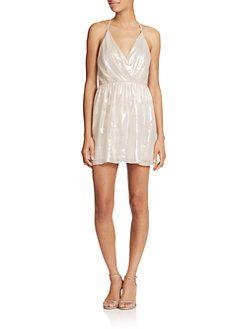 56877fa4dfe Alice + Olivia - Livvy Draped Metallic Mini Dress