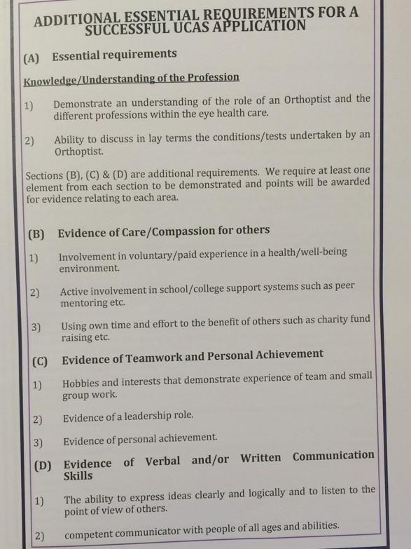 Liv Uni Orthoptics on School - personal statement sample