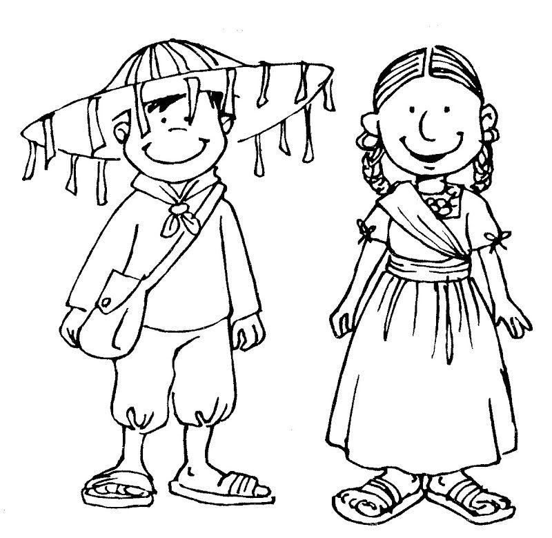 Dibujos para colorear de vestidos tipicos