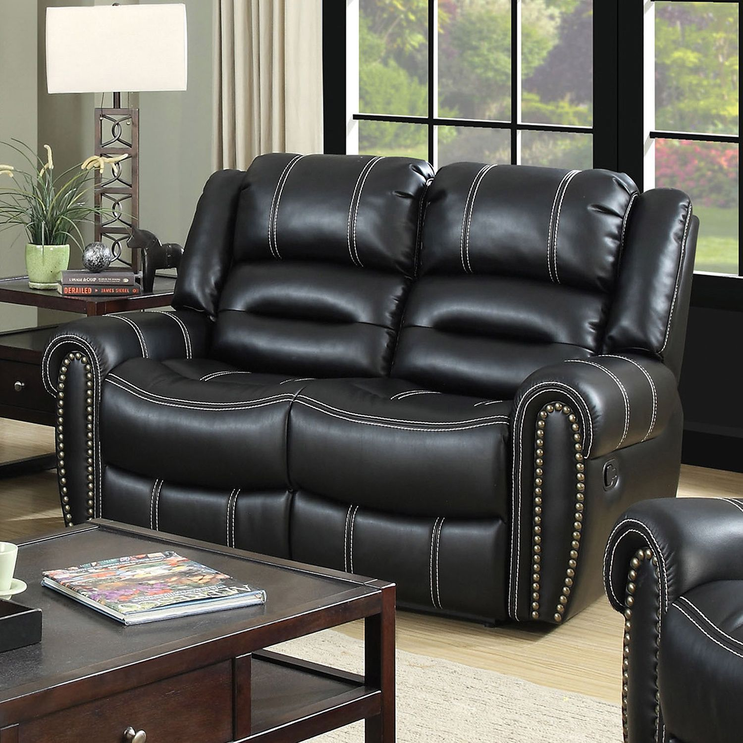 Furniture of america dylan black leatherette reclining loveseat
