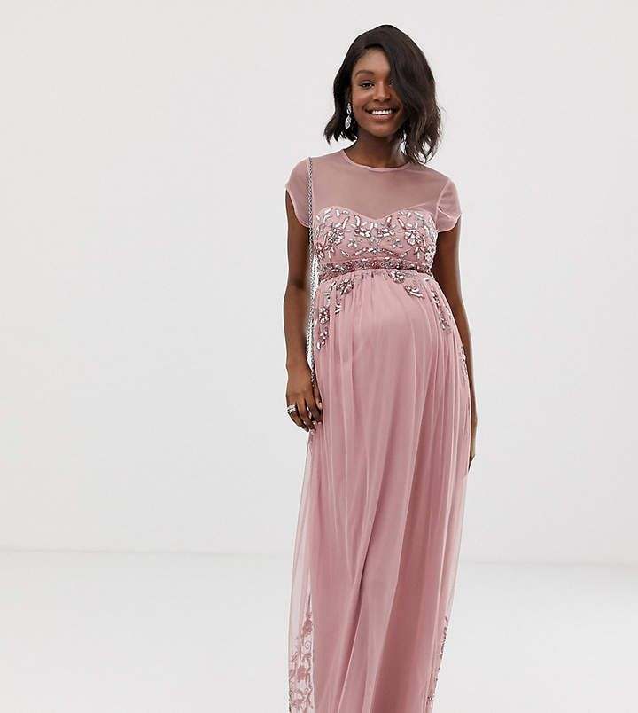 d459556837a76 Maya Maternity all over premium embellished mesh cap sleeve maxi dress in  vintage rose #asos #ad