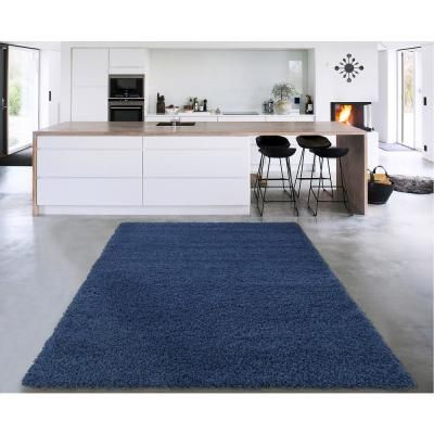 Cozy Shag Collection Navy Blue 8 Ft X 10 Ft Indoor Area Rug