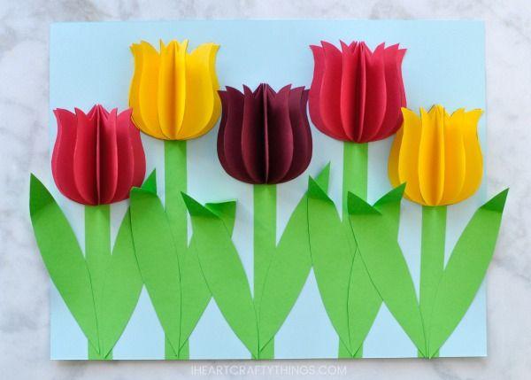 gorgeous 3d paper tulip flower craft printemps flower crafts spring crafts for kids et. Black Bedroom Furniture Sets. Home Design Ideas