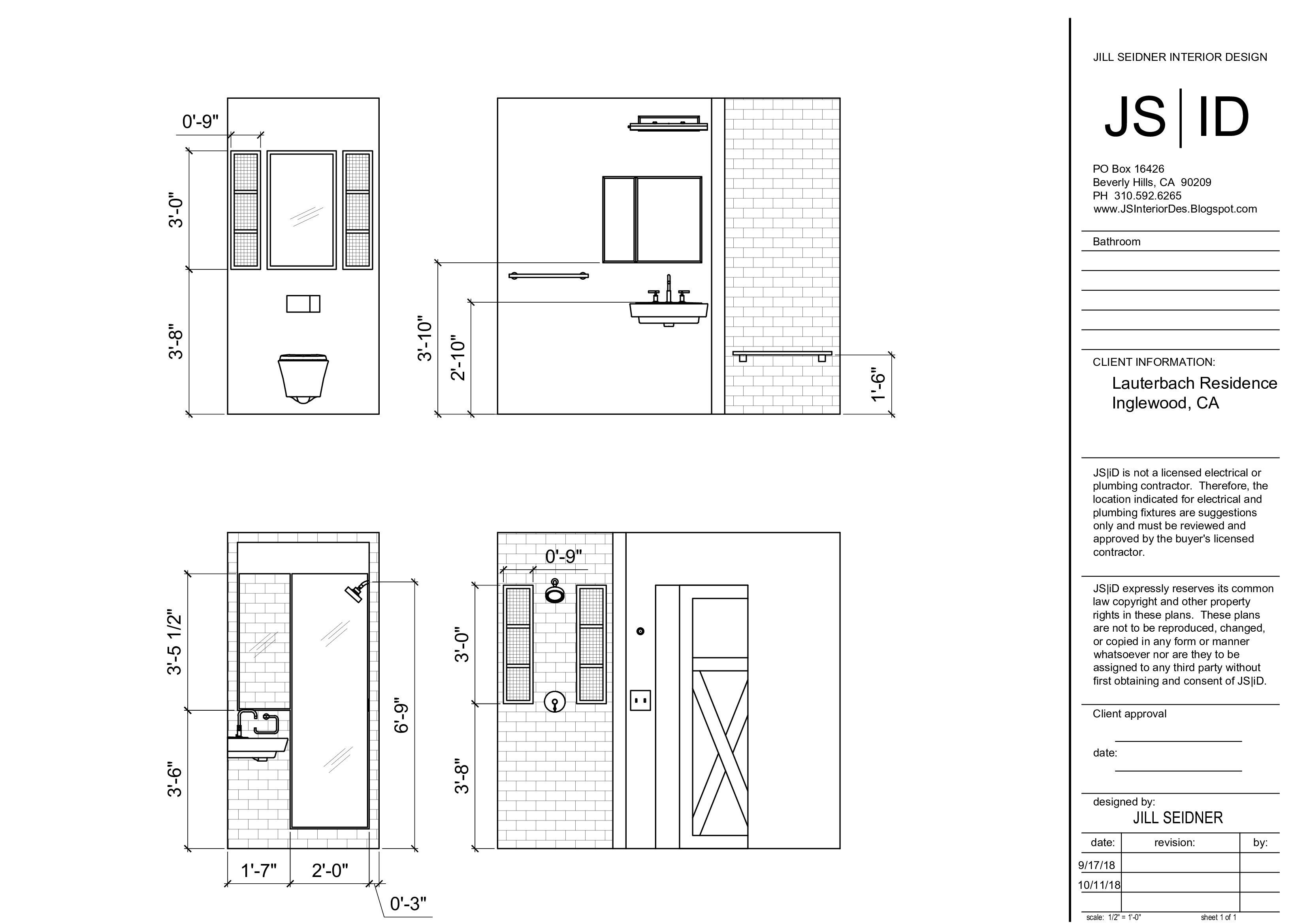 Inglewood Ca Residence Bathroom Remodel Elevation Drawing