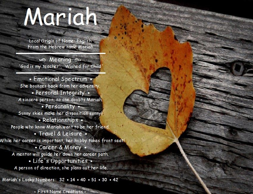 Mariah Name Meaning First Name Creations Our Precious