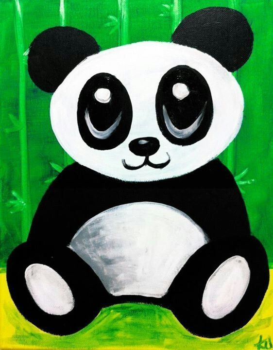 Cute Panda Canvas Paint Idea For Wall Decor Bear Painting