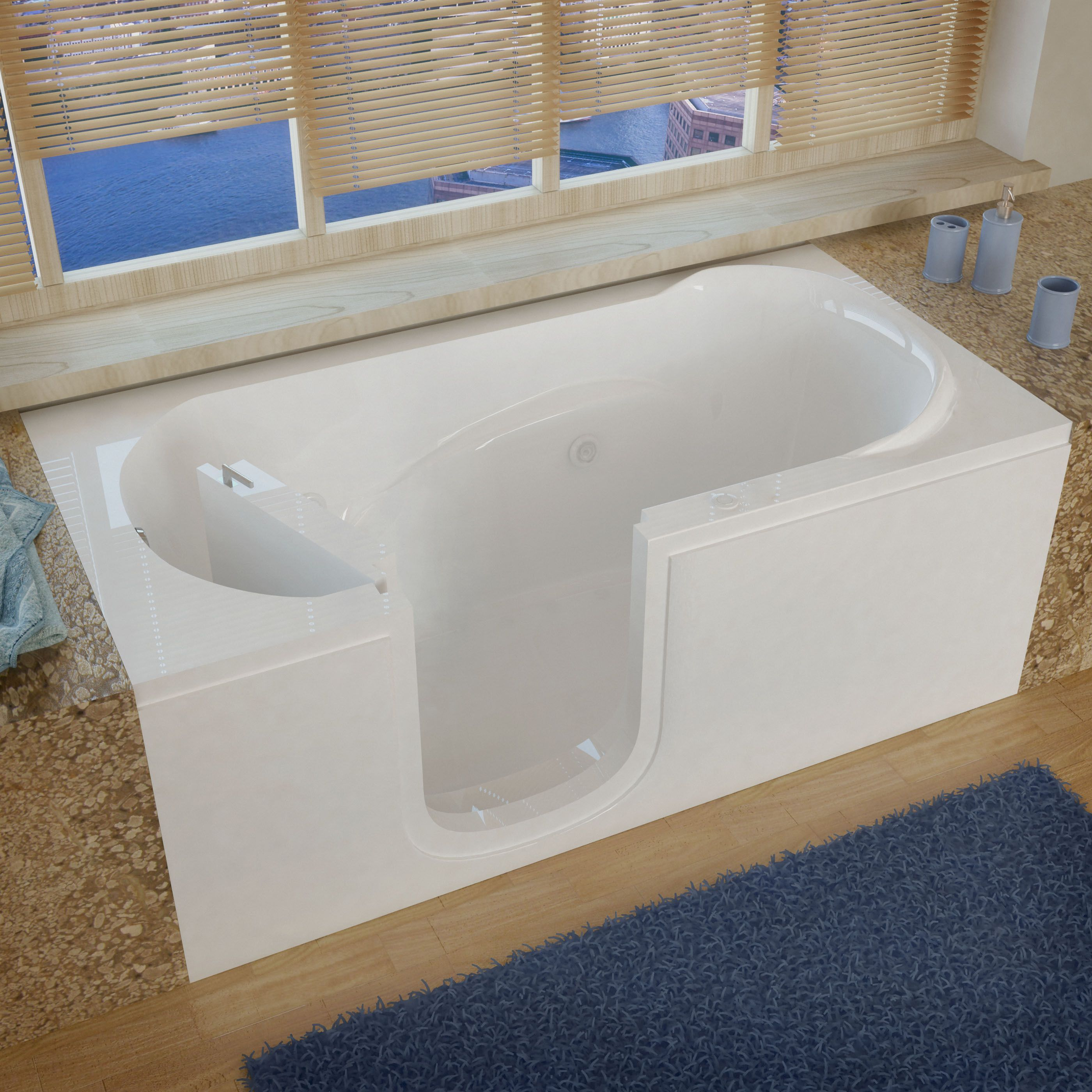 MediTub Step-In 30x60-inch Left Drain White Whirlpool Jetted Step-In ...