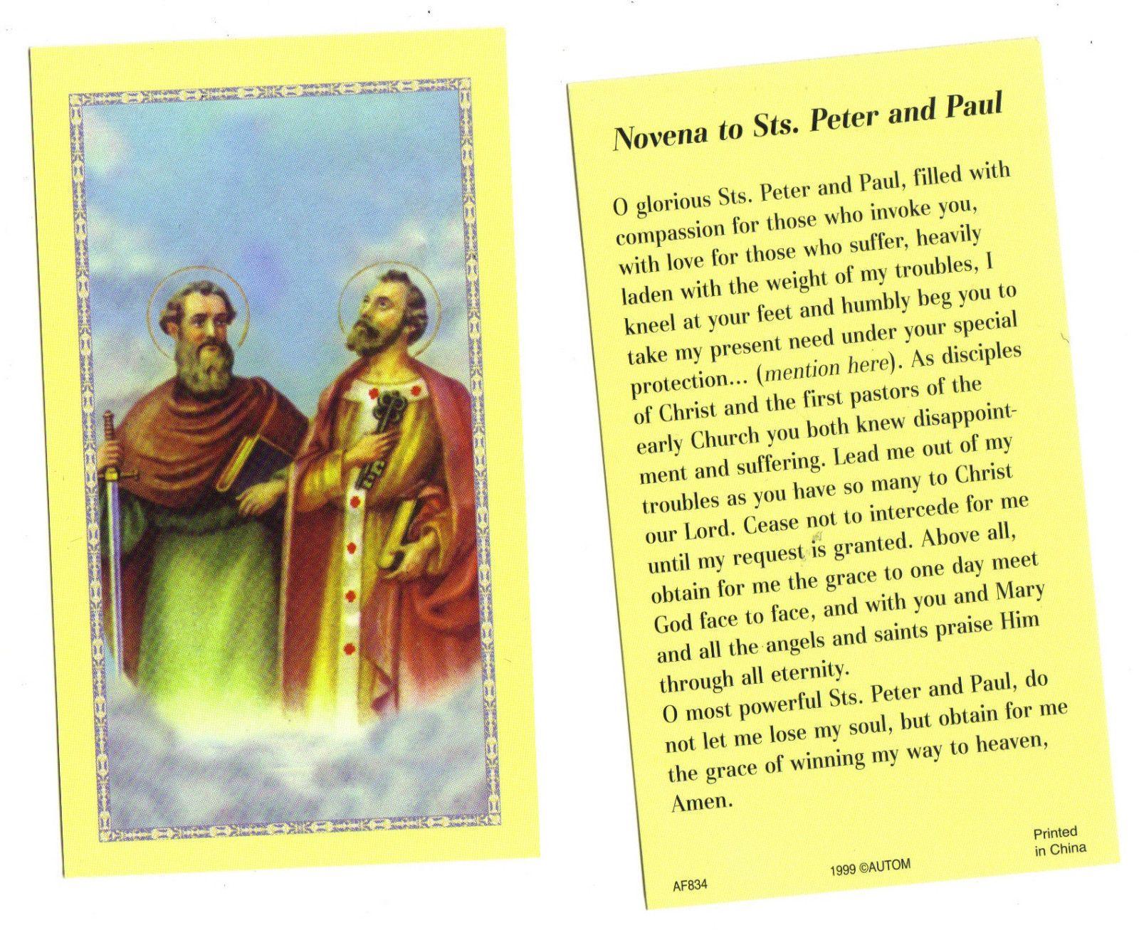 $1 59 Novena To Saint Peter & Saint Paul Prayer Card ebay