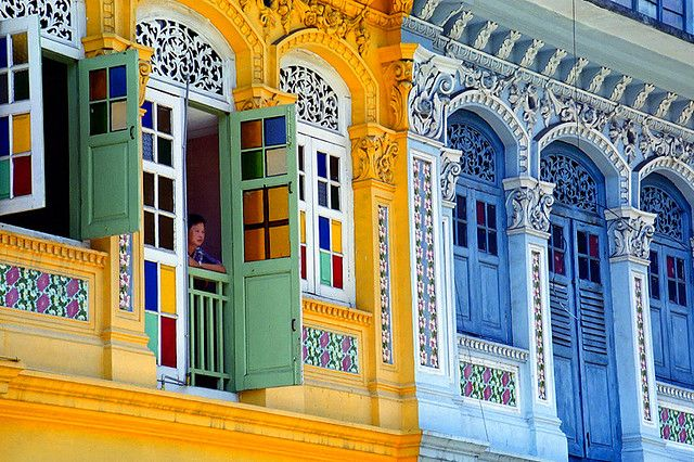 Colorful colonial buildings in Singapore