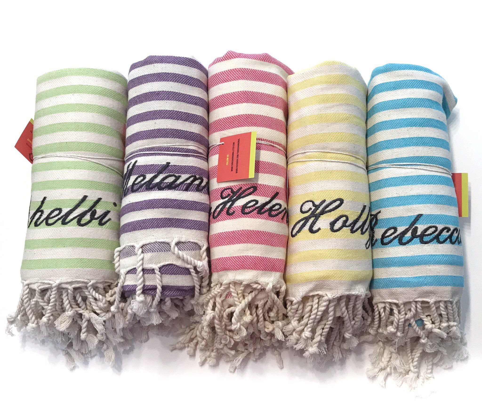 5 Rainbow Bridesmaids Gifts Large Beach Towels Set Of 5 Large