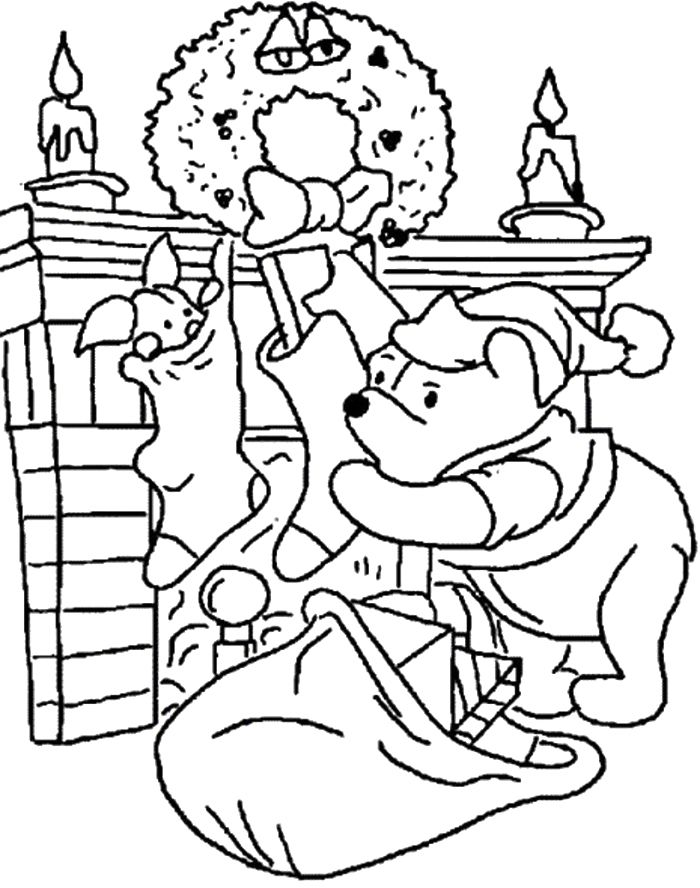 Approaching Winni The Pooh Fireplace Coloring Pages | Free ...