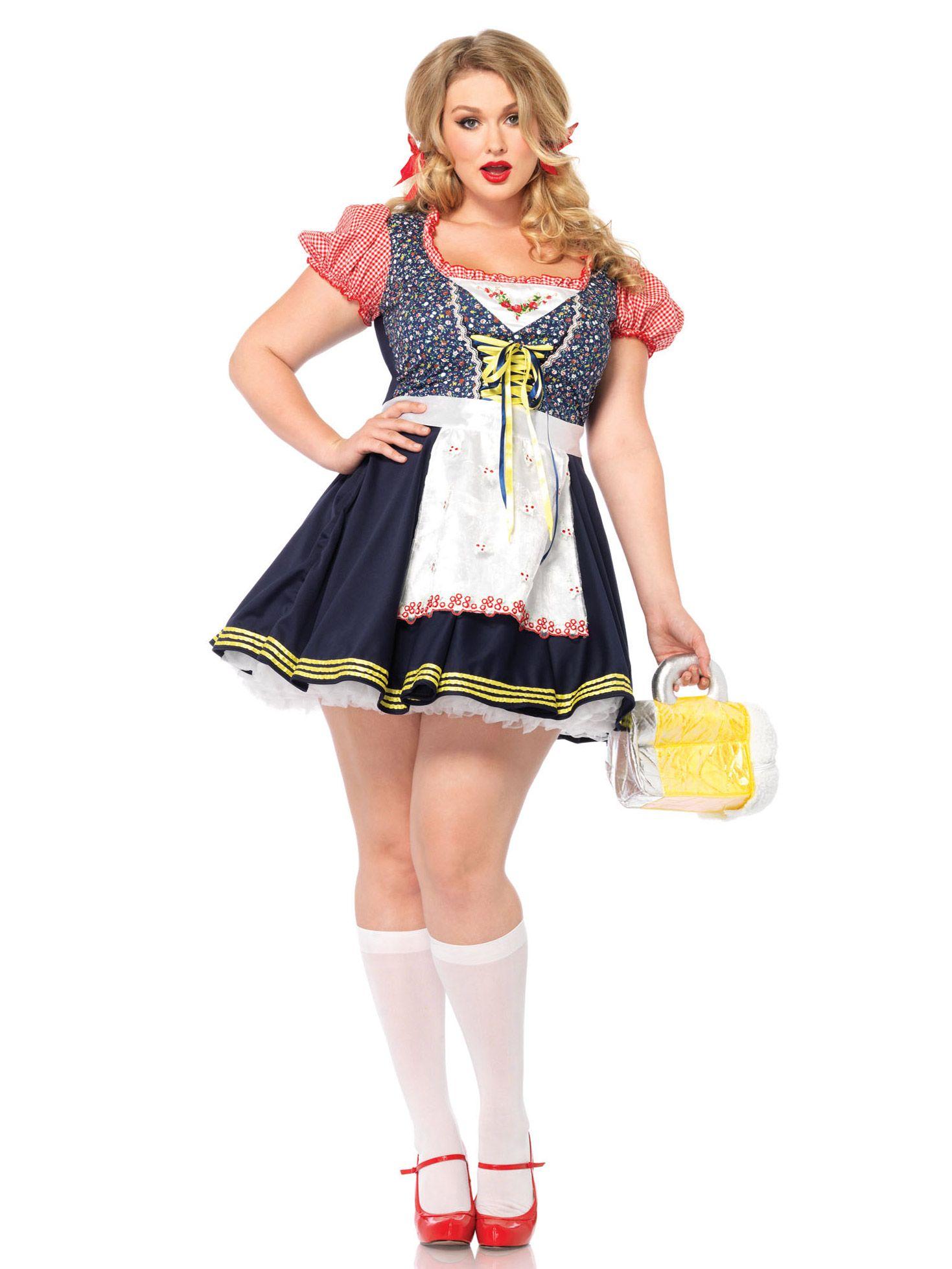 Bayerische Tracht für Damen: Das hübsche Kostüm als bayerisches Mädel besteht aus einem Kleid und einer Schürze (Strümpfe, Petticoat, Beutel und Schuhe sind nicht im Lieferumfang inbegriffen).Der Rock des Kleides ist in...