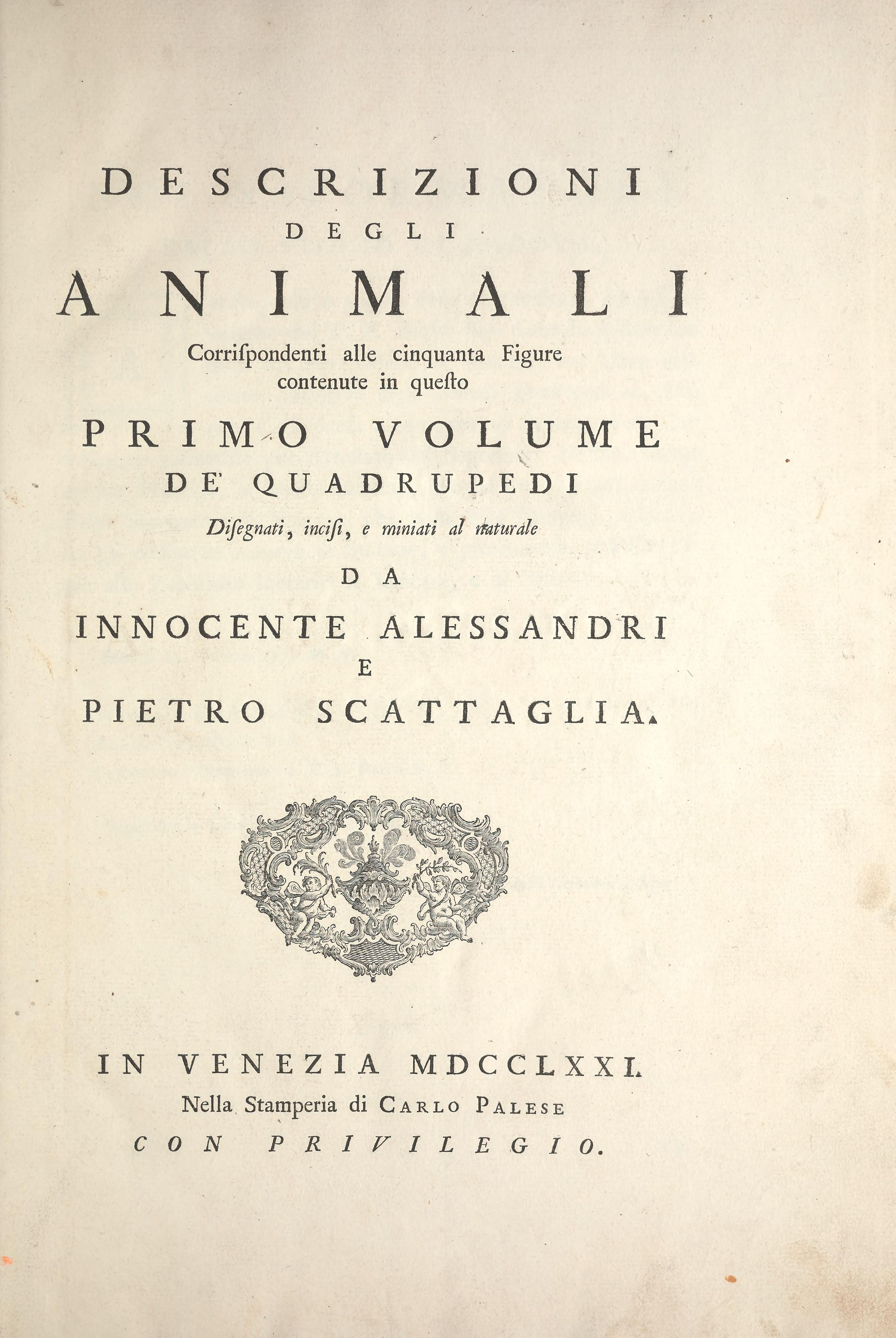 Descrizioni degli animali : corrispondenti alle cinquanta figure continente in questo ... volume de'quadrupedi 1