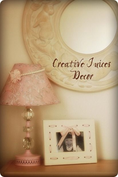 Thrifted lamp; scrapbook ppr and mod podge on shade, spray painted base.  Beautiful!!!