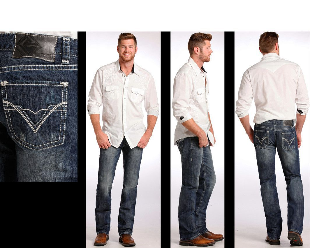 900b667db60e1 Rock   Roll Cowboy Men s Pistol Fit Straight Leg Dark Vintage Jeans M1P6642