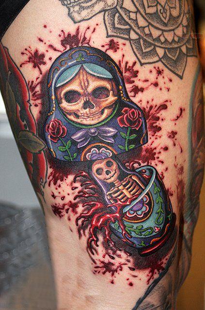 Zombie Matryoshka Tattoo Tattoos Tatouage Tatoo Poupee Russe