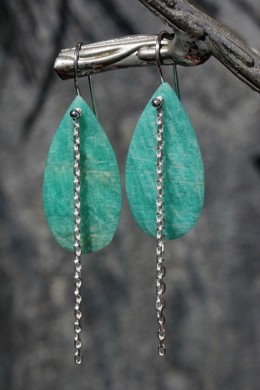 Amazonite Teardrop Chain Earrings