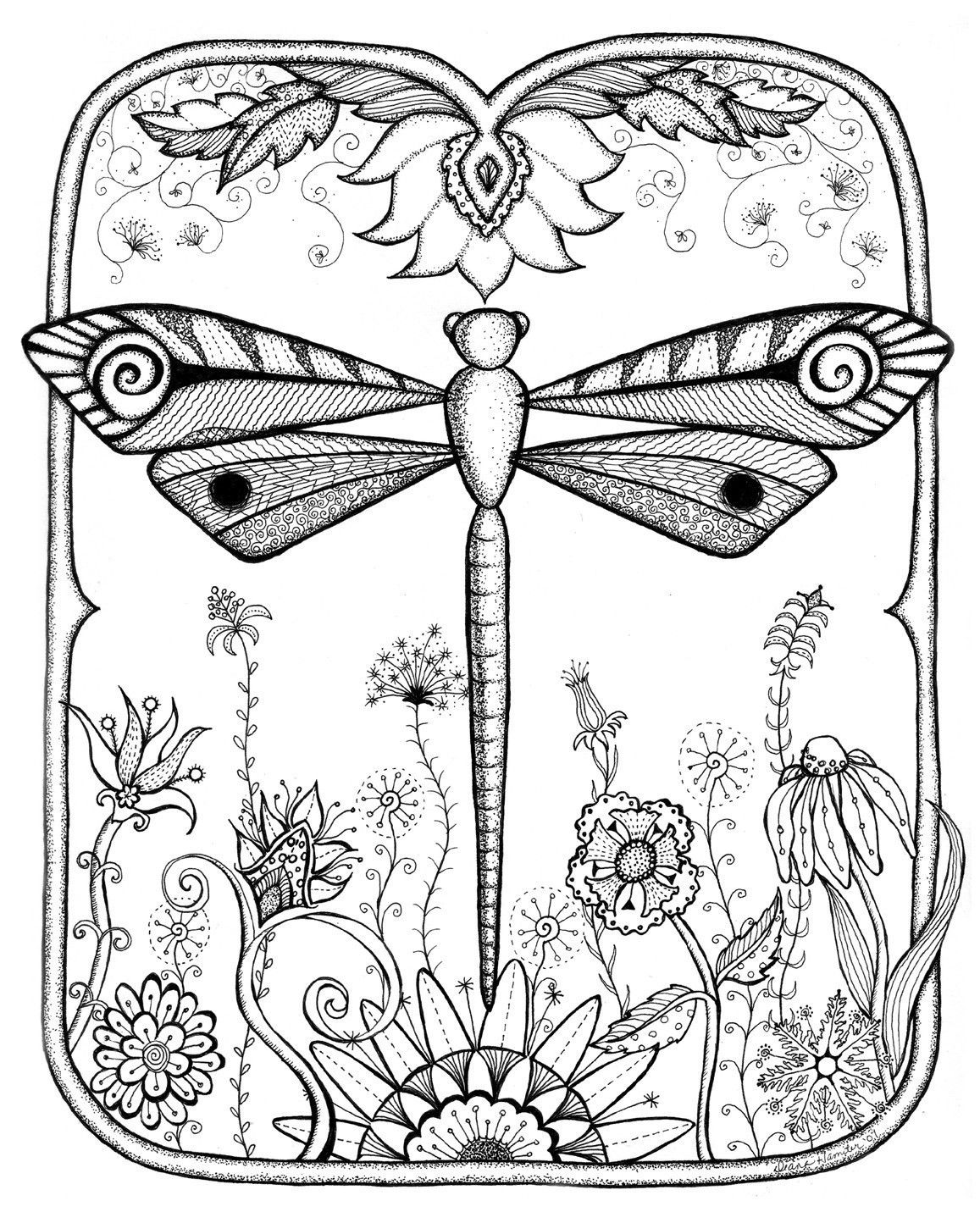 Dragonfly Garden Abstract Doodle Zentangle Zendoodle Paisley Coloring Pages Colouring Adult Detailed Advanced Printable Kleu Coloring Pages Zentangle Dragonfly