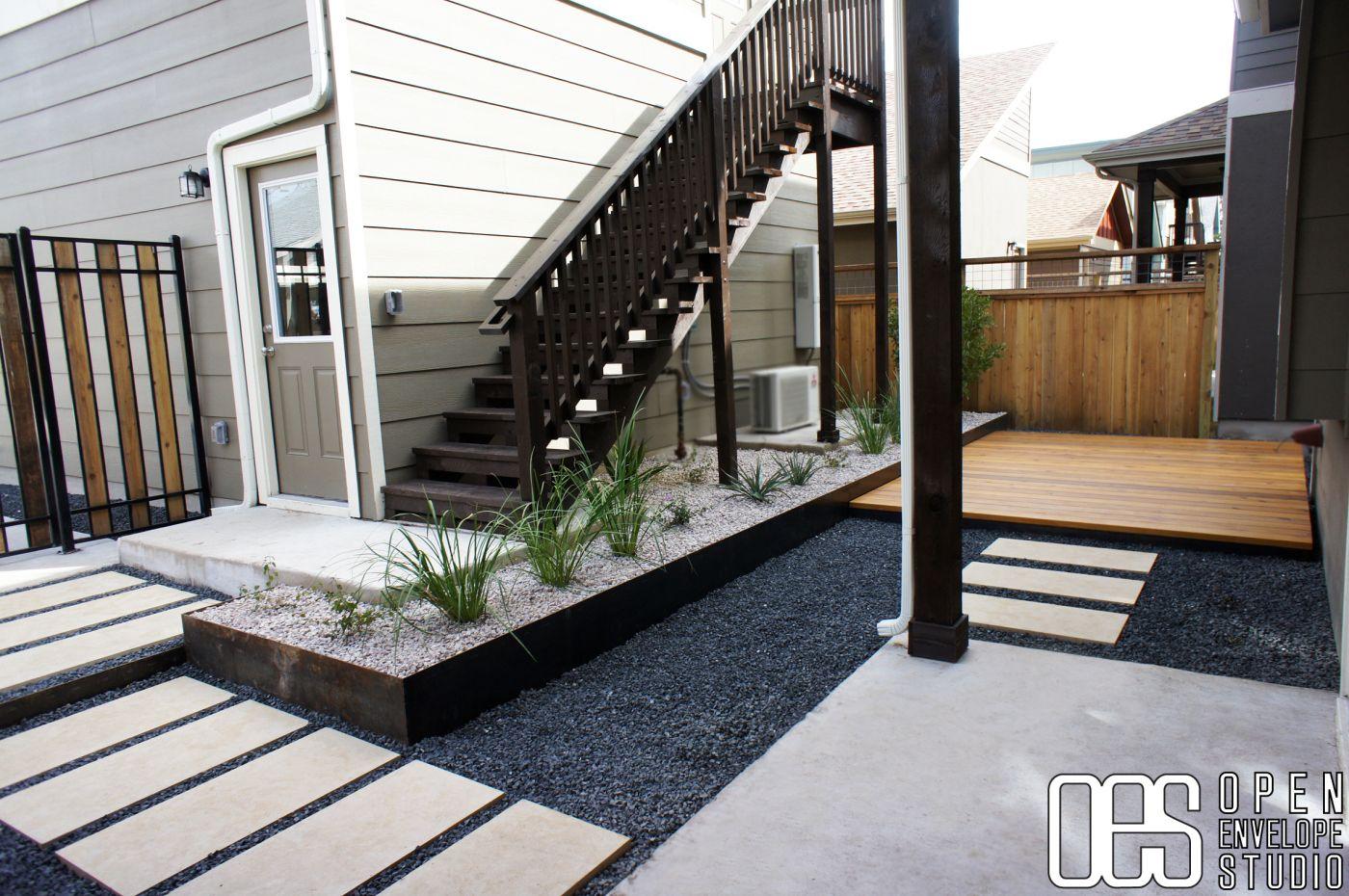 OES | Cedar Deck, Limestone Pavers, Aggregate Patio, Steel Planter, Drought