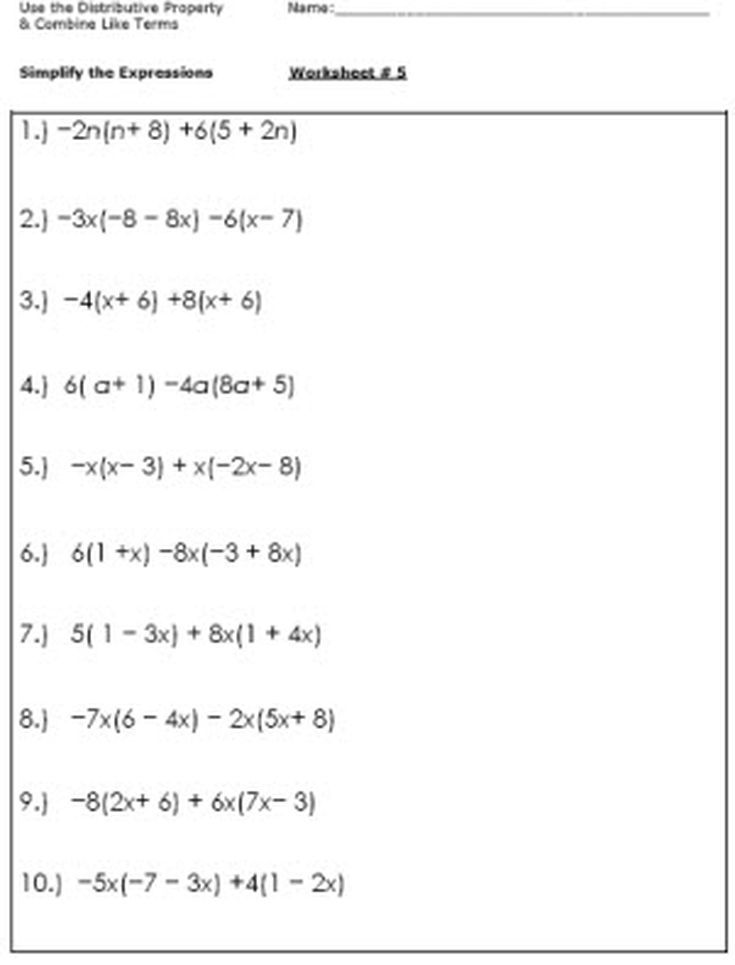 Algebra Worksheets for Simplifying the Equation (With ...