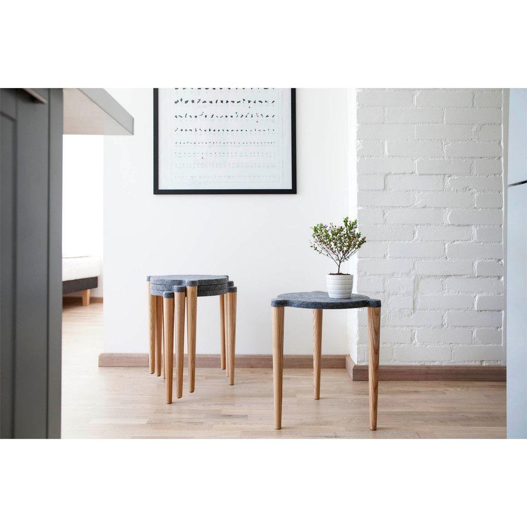 Holzhocker Skandinavisches Design In Grau Holzhocker