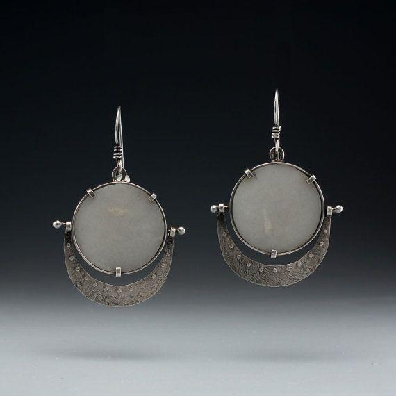 White Quartz Panel Earrings by rebeccabashara on Etsy, $420.00