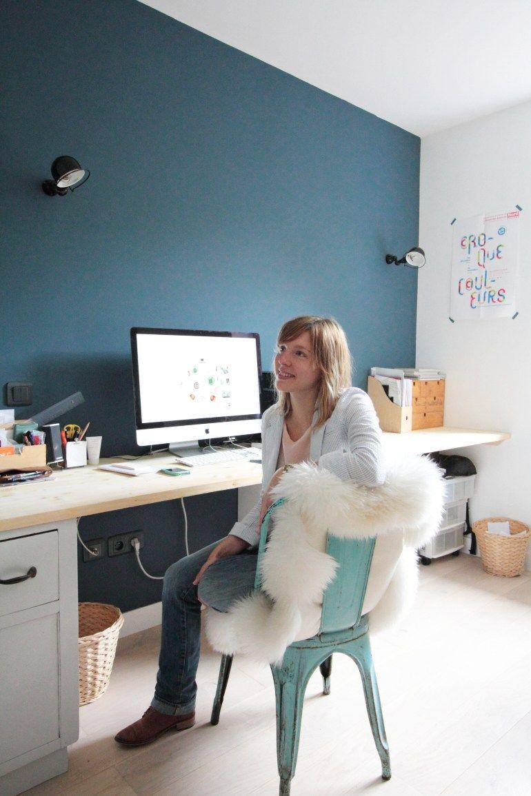 Bienvenue Chez Emilie Du Blog Poligom Hello Blogzine Idee Deco Bureau Bureau Bleu Deco Bureau