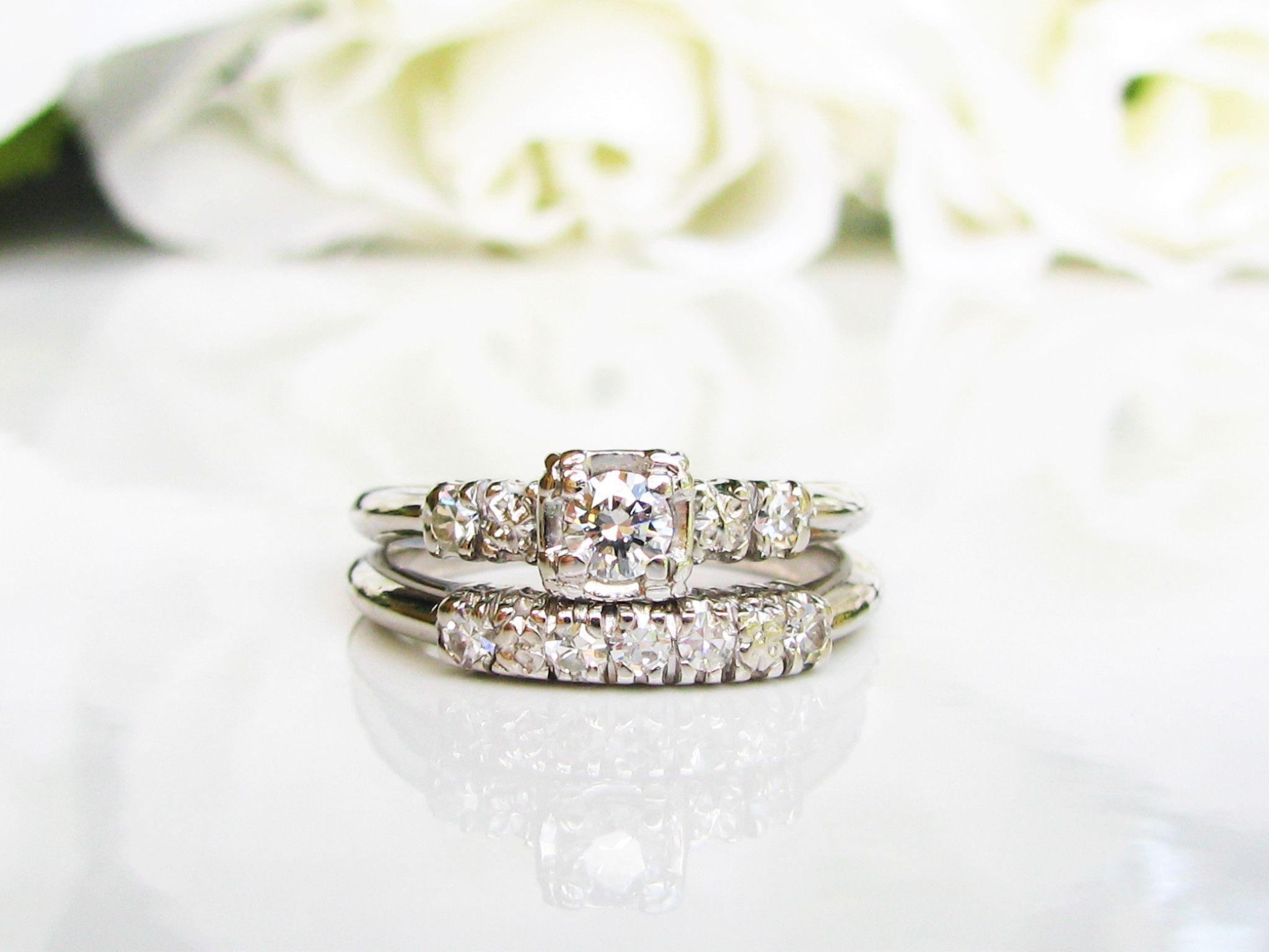 Vintage engagement ring set ctw diamond wedding ring set k
