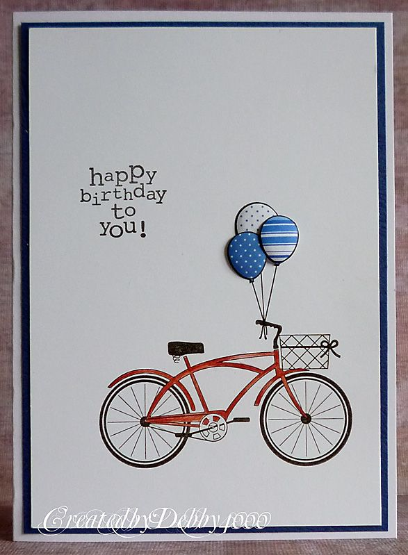 I Had To Use This Stamp I Saw It On Pinterest And Knew I Had To Have It And With The Less Is More Colour Bike Card Assorted Greeting Cards Inspirational