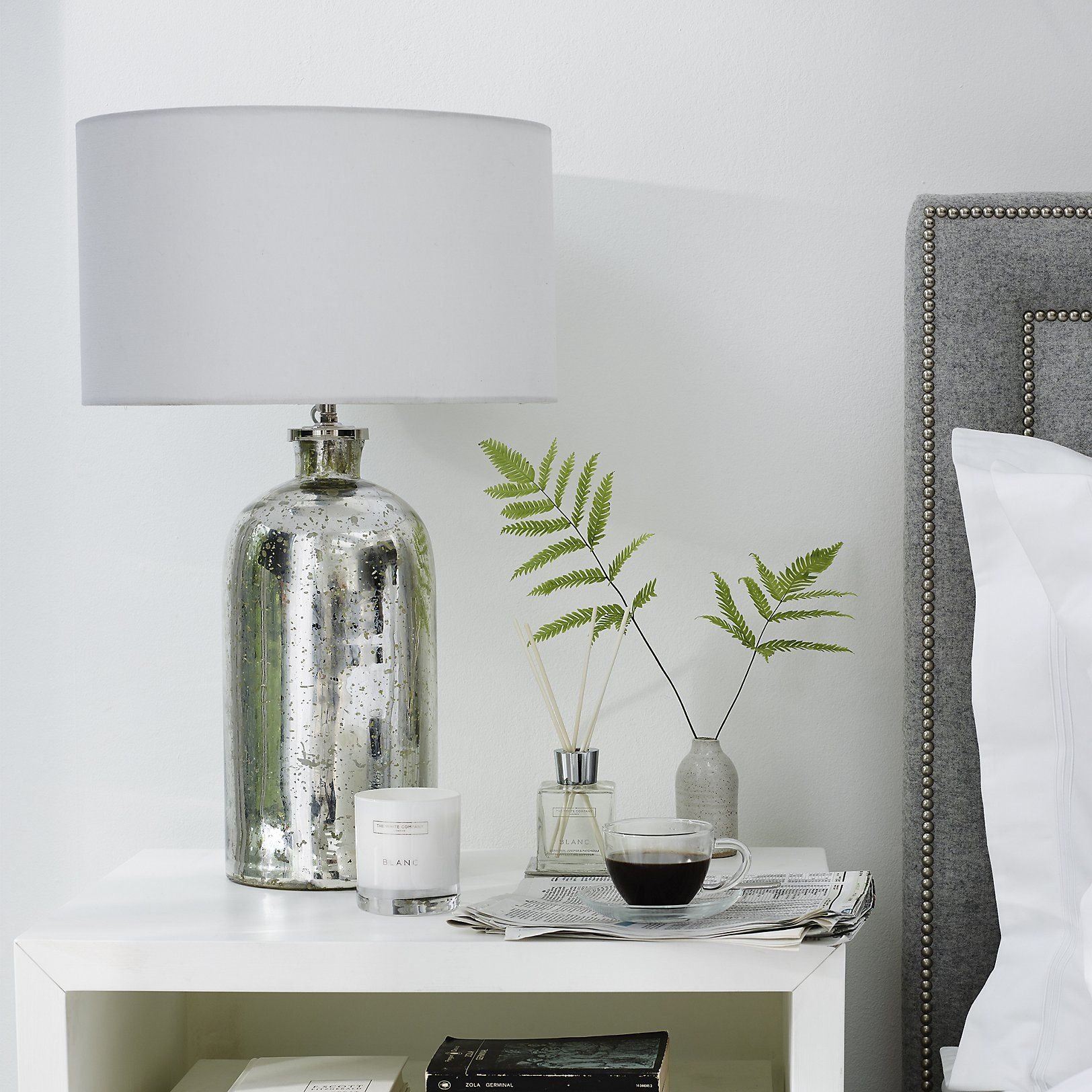 Mercury bottle table lamp table lamps home accessories home this fabulous big table lamp is a real statement piece for your living room hallway or office hand made in india the lamp features a large white linen geotapseo Image collections