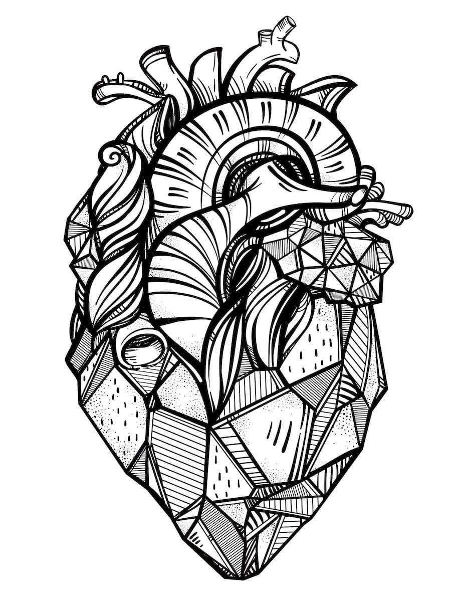 Real Heart Doodle Geometric Heart Tattoo Tattoo Templates