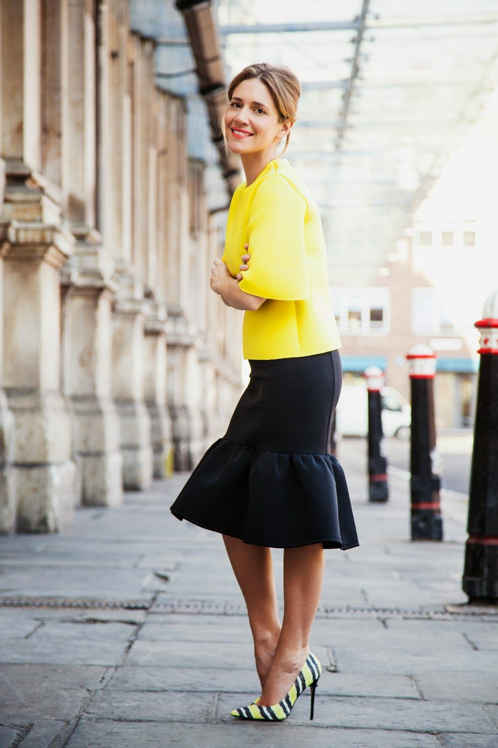 Black dress yellow heels - Perfect Spring And Summer Outfit Yellow Top Ruffled Black Skirt And Black