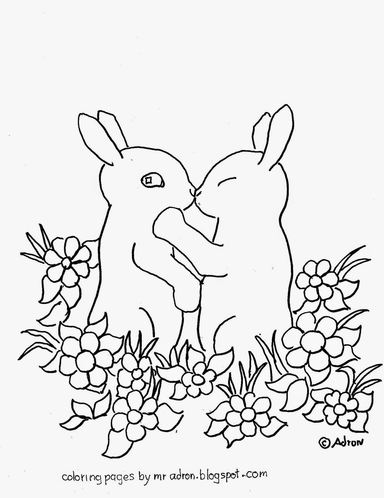 Coloring page of Baby Bunnies kissing. See more at my blog: http ...