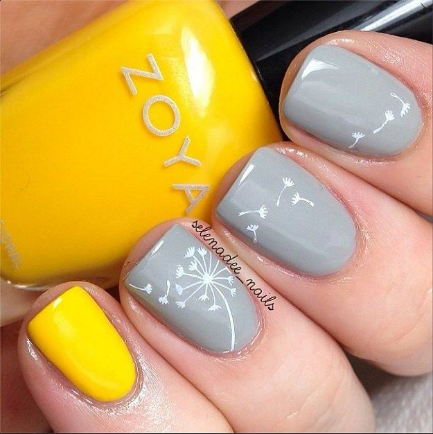 Yellow and grey flower nails - 17 Gorgeous Spring Nail Designs In 2018 Everything Nails