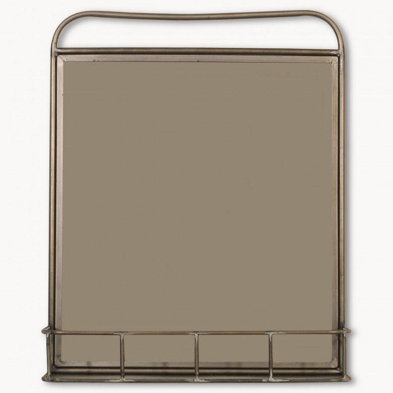 Granville Round Industrial Shelf Mirror