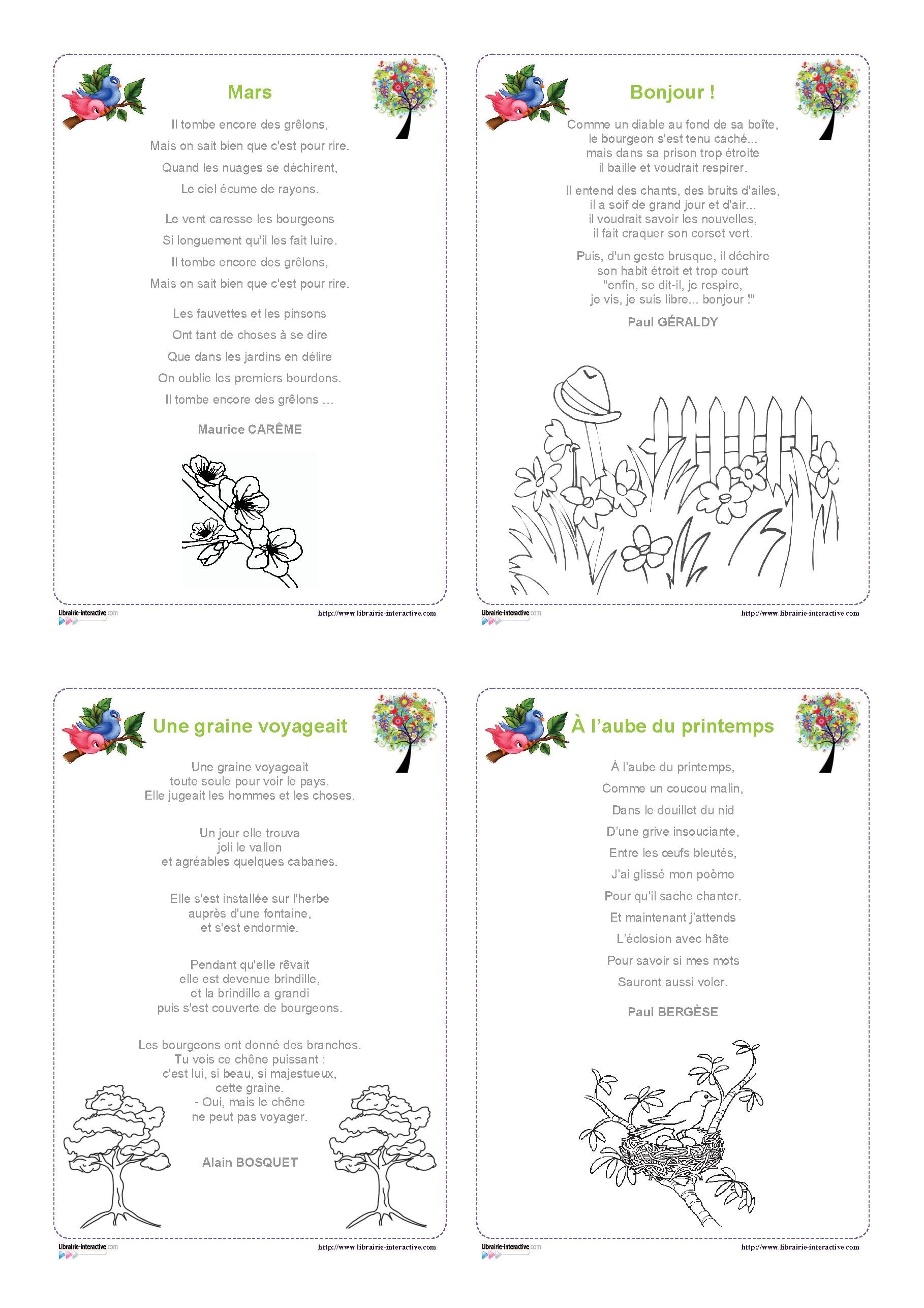 12 Poésies Illustrées Sur Le Thème Du Printemps Pour Les