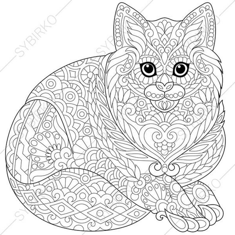 Coloring Page For Adults Digital Coloring Page Cat Kitten Etsy Animal Coloring Pages Cat Coloring Page Animal Coloring Books