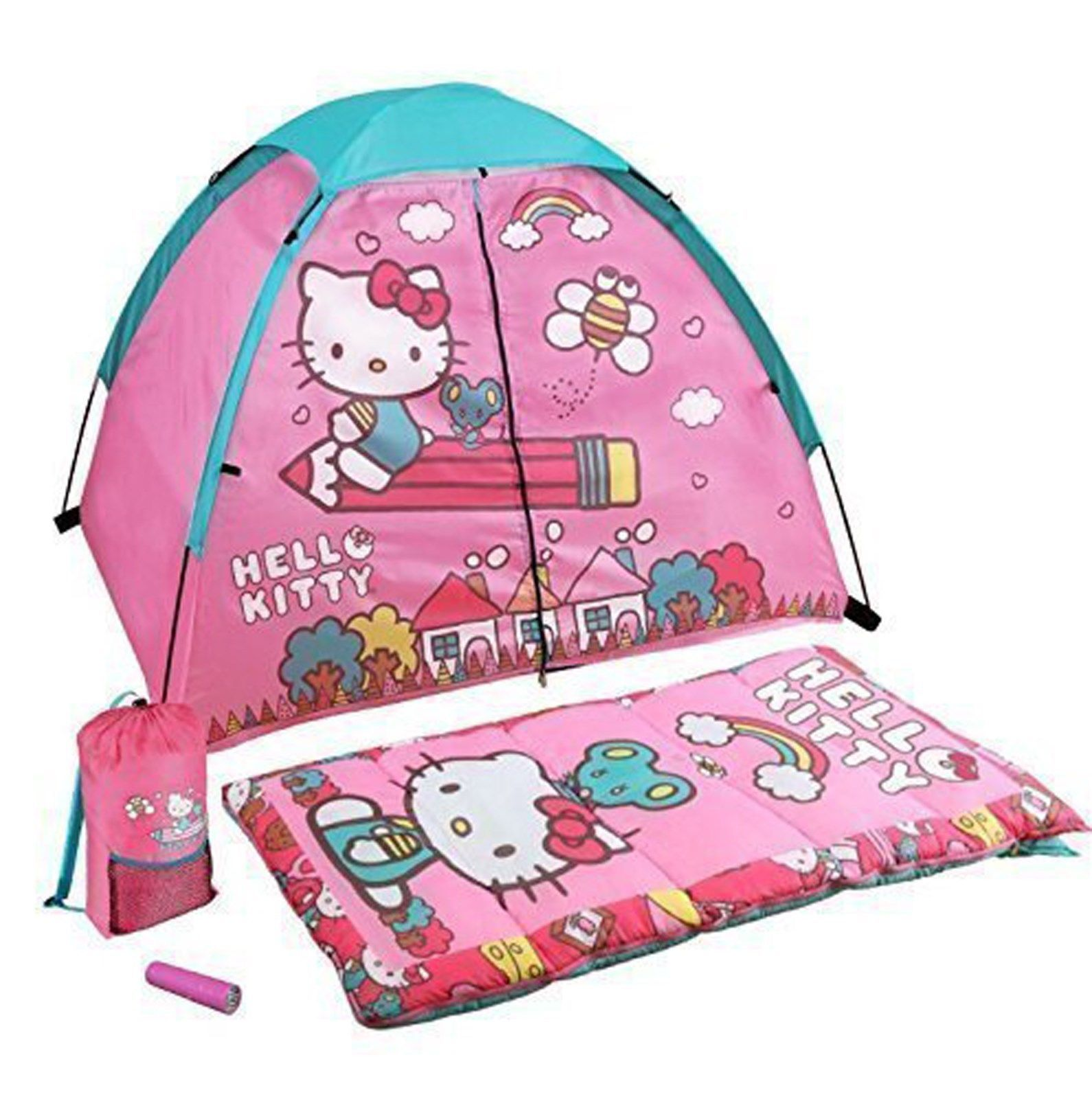 Hello Kitty 4 Piece Kids C& Kit - Indoor / Outdoor Play Tent Sleeping Bag Carry Sack u0026 Flashlight - of the day spreadsheet  sc 1 st  Pinterest : kids tent kit - memphite.com