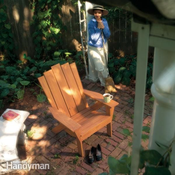 this adirondack chair and matching love seat are designed for outdoor comfort. they're designed for easy assembly, so that a novice can build them. and you can build them from inexpensive, durable wood that, once stained, looks beautiful.