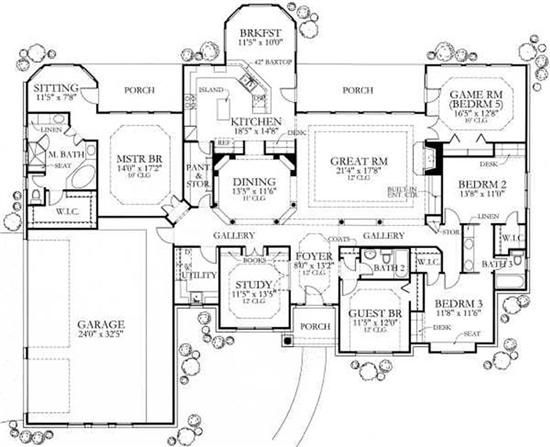 Texas Country Home Plan Four Bedrooms Plan 136 1002 French House Plans Four Bedroom House Plans House Floor Plans