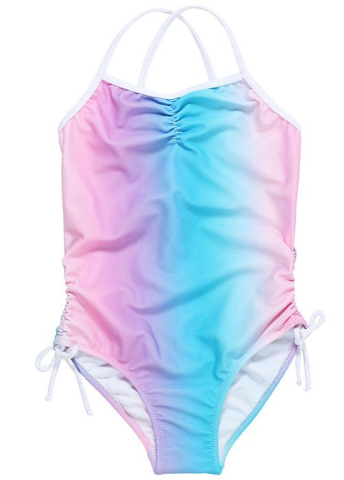 6059213d7 Pastel Rainbow Colored Swimsuit For Girls. Swimsuit inspired by unicorns,  cotton candy & rainbows in an easy fit swimsuit with adjustable ties at the  hip.