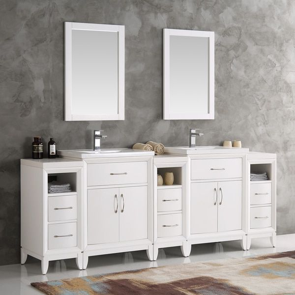 Fresca Cambridge White 84 Inch Double Sink Traditional Bathroom Vanity With Mirrors Traditional Bathroom Traditional Bathroom Vanity Modern Bathroom Vanity