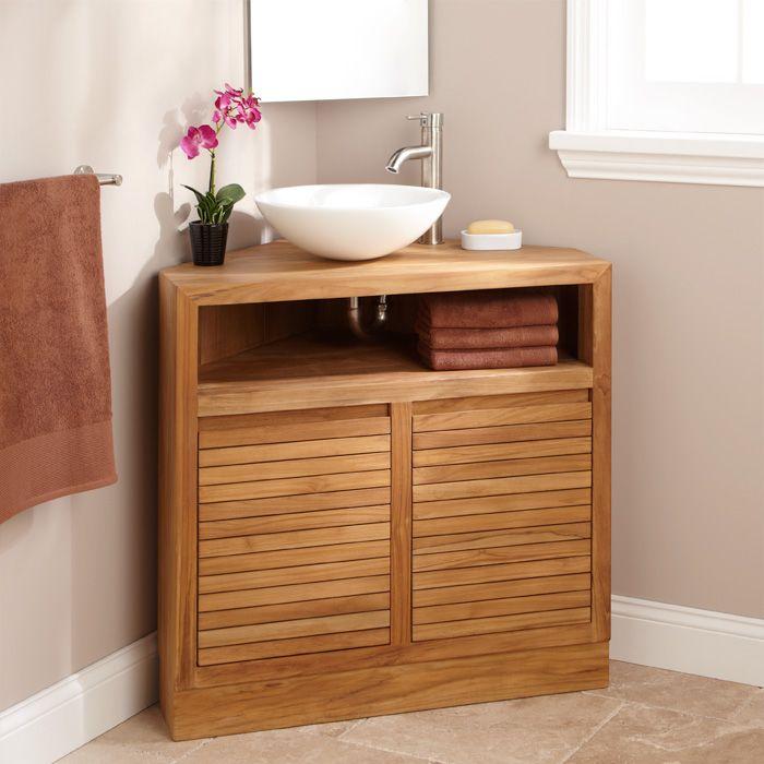 "wonderful corner bathroom vanity | 34"" Cuyama Teak Corner Vanity | Corner vanity, Corner ..."