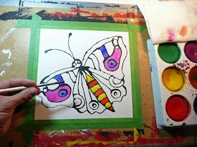 This is a really easy technique that gives you a stained glass effect using paper, tempera or watercolor and glue. After my last pos...