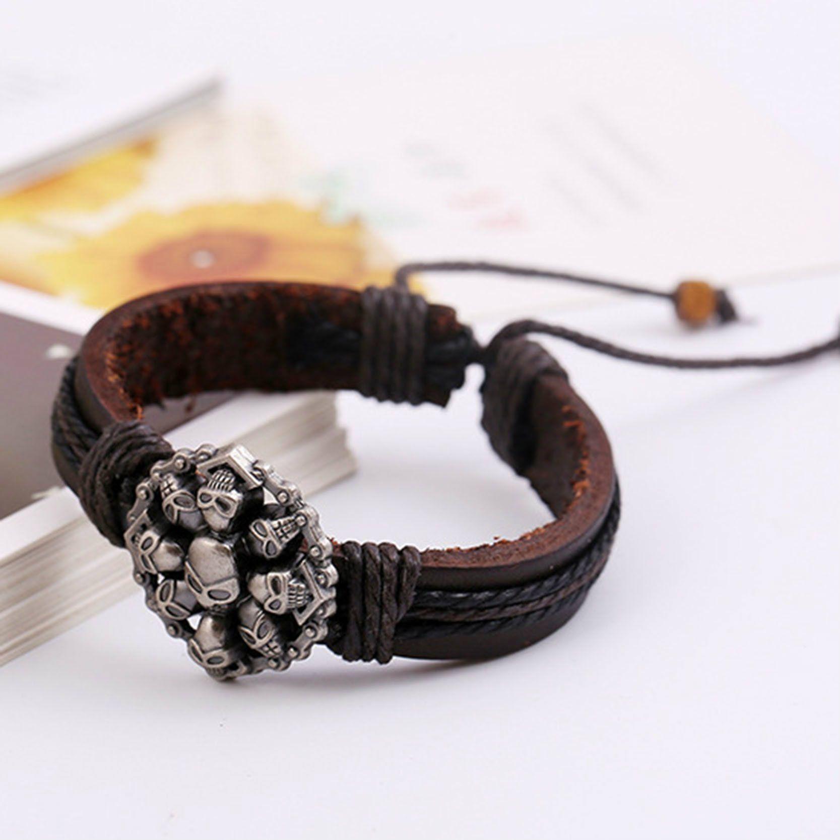 7b51b5cab240 Skull Retro Leather Dark Brown Bracelets   Price   9.95   FREE Shipping