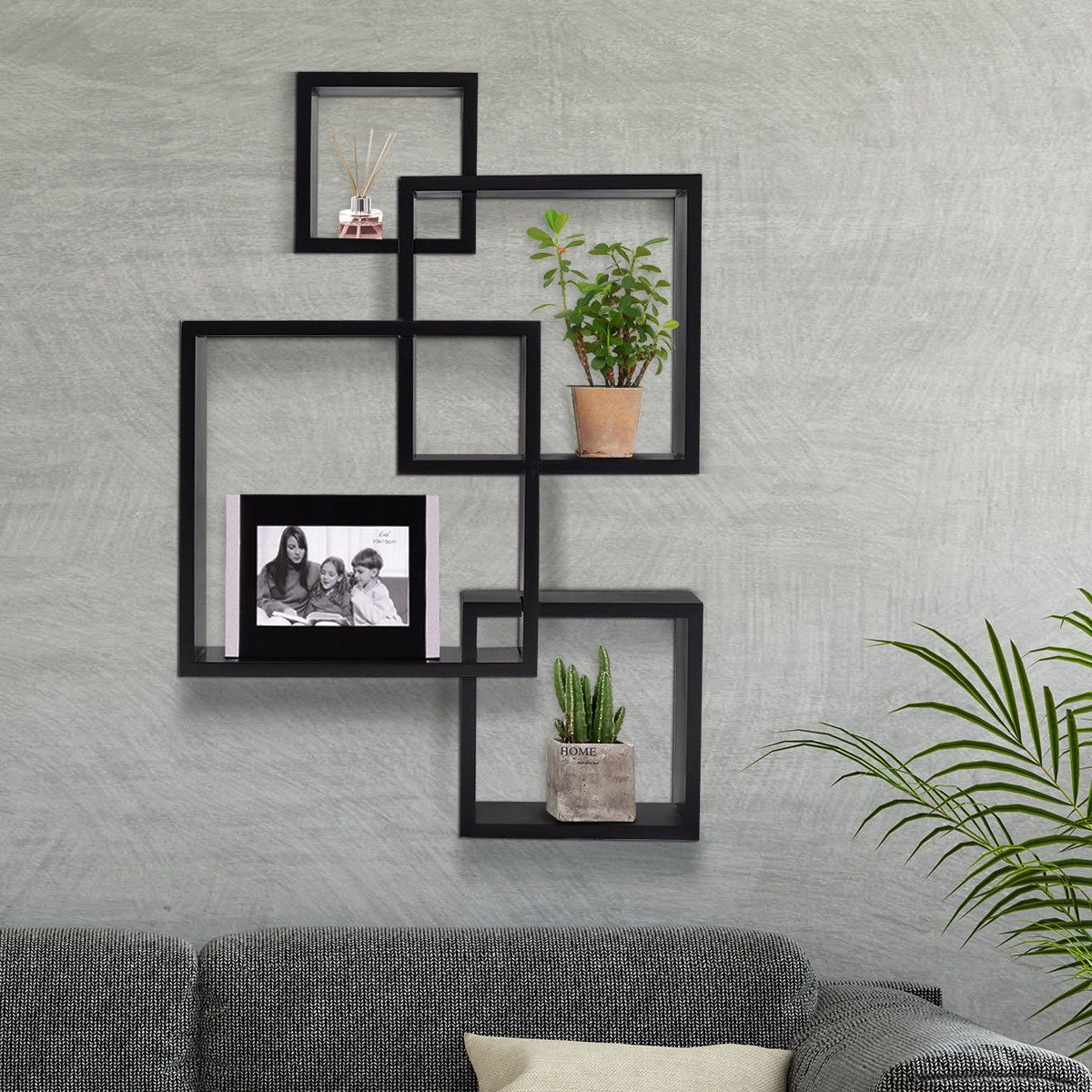 21 Stunning Intersecting Square Bookshelf Wall Mounted Shelves