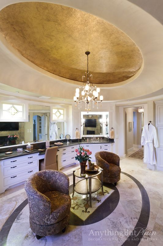 gold metallic dome in this opulent bathroom